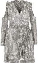 River Island Womens Grey leaf print cold shoulder wrap dress