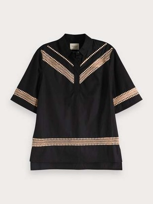 Maison Scotch Lace Detail Top - XS / 06 - Black