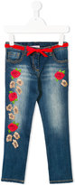 Miss Blumarine rose appliquéd denim jeans