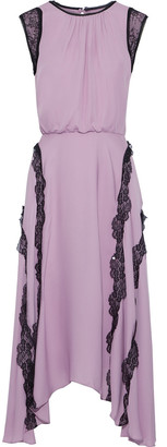 Jason Wu Collection Asymmetric Lace-trimmed Silk Crepe De Chine Midi Dress
