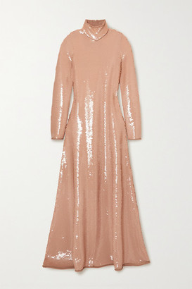 Bottega Veneta Open-back Sequined Jersey Turtleneck Gown - Blush