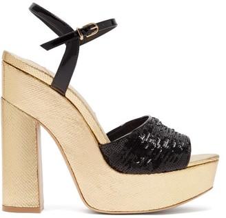 Sophia Webster Juju Sequinned Leather Platform Sandals - Womens - Black Gold