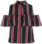 Quiz **Quiz Multi Stripe Cold Shoulder Shirt