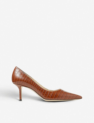 Jimmy Choo Love 65 crocodile-embossed leather courts