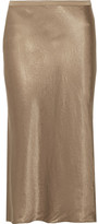 Vince Hammered-satin Midi Skirt - Gold