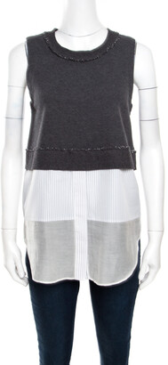 Derek Lam 10 Crosby Grey and White Knit Striped Layered Sleeveless Blouse S
