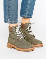 Timberland Fabric 6 Inch Lace Up Flat Boots