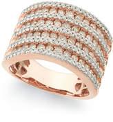 Macy's Diamond Multi-Row Band Ring (1-1/2 ct. t.w.) in 14k Rose Gold