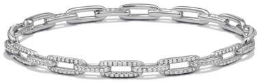 David Yurman Stax Chain Link Bracelet in 18k White Gold w/ Diamonds