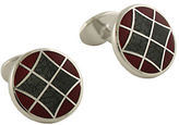 David Donahue Sterling Silver and Enamel Argyle Cufflinks