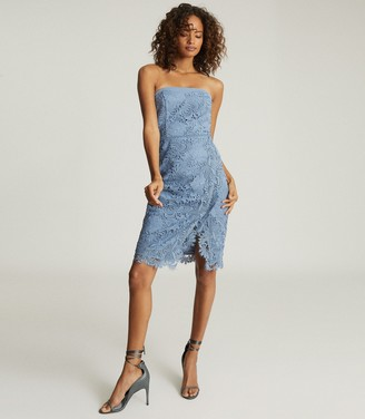 Reiss FINLEY LACE BODYCON DRESS Dusty Blue