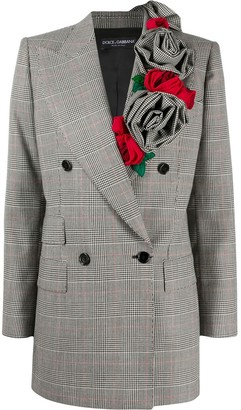 Dolce & Gabbana Glen plaid rose applique blazer