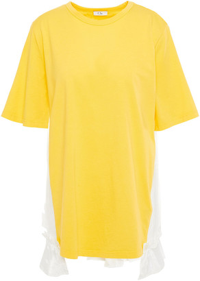 Clu Ruffled Woven, Lace And Cotton-jersey T-shirt