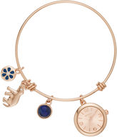 Arizona Womens Rose Gold Tone Bangle Watch