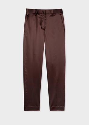 Women's Classic-Fit Burgundy Satin Tuxedo Trousers