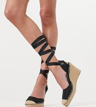 ASOS DESIGN Wide Fit Tori tie leg espadrille wedges in black