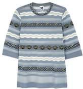 M Missoni Steel Blue Shell-intarsia Fine-knit Top