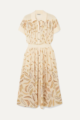 Three Graces London Zandra Rhodes Honore Printed Silk Crepe De Chine Midi Dress - Ecru