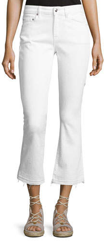 Derek Lam 10 Crosby Gia Mid-Rise Cropped Flare Jeans with Released Hem, White