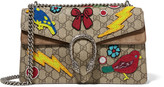 Gucci Dionysus Small Embellished Coated-canvas And Suede Shoulder Bag - Beige