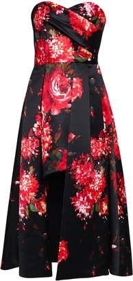Black Halo Eve By Laurel Berman Asymmetric Pleated Floral-print Satin Dress
