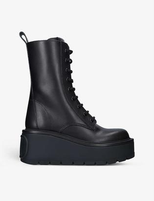 Valentino Logo-embossed leather combat boots