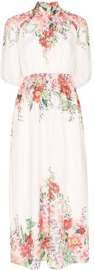 Zimmermann Floral-Print Shirred Maxi Dress