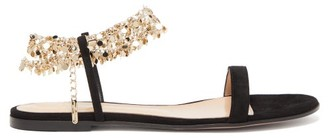 Gianvito Rossi Chain-strap Suede Sandals - Womens - Black