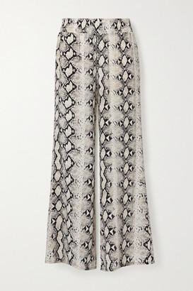 L'Agence Oaklyn Snake-print Silk Wide-leg Pants - Gray