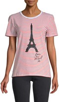 Karl Lagerfeld Paris Sequin-Embellished Stretch-Cotton Tee
