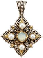 Konstantino Amphitrite Cushion-Cut Agate & Four-Pearl Cross Pendant Enhancer