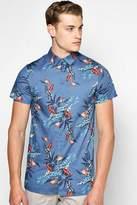 Boohoo Short Sleeve Floral Print Shirt navy