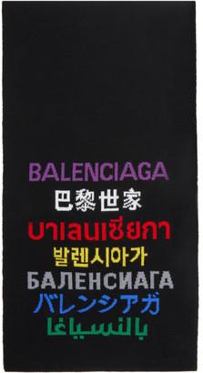Balenciaga Black WoolLanguages Scarf
