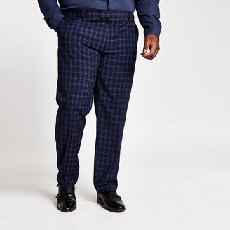 River Island Big and Tall navy slim fit suit trousers