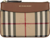 Burberry Leather trim house check pouch