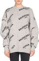 Balenciaga Logo Jacquard Crewneck Sweater