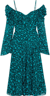Diane von Furstenberg Lilith Cold-shoulder Leopard-print Silk-georgette Midi Dress