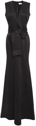Victoria Beckham Belted Bow-embellished Satin-crepe Gown