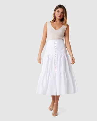 Forever New Tammy Tiered Poplin Midi Skirt