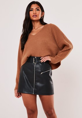 Missguided Brown Rib V Neck Cropped Jumper