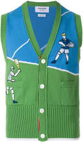 Thom Browne Classic V-neck Vest With Tennis Player Embroidery In Cotton Crepe