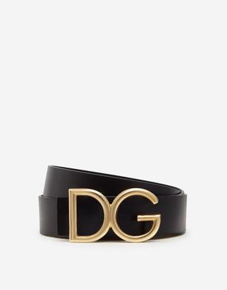 Dolce & Gabbana Leather Belt With Logo