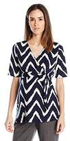 Three Seasons Maternity Women's Maternity Elbow Sleeve Surplice Print Top
