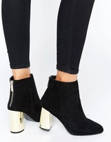 Oasis Gold Block Heeled Ankle Boots