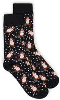 Topman Black Skiing Snowman Christmas Socks