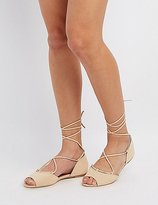 Charlotte Russe Qupid Peep Toe Lace-Up Flats
