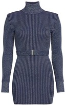 Herve Leger Glitter Rib-Knit Belted Mini Turtleneck Sweater Dress