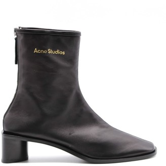 Acne Studios Black Nappa Ankle Boots With Logo
