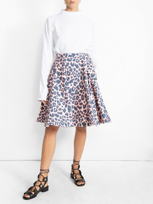 Calvin Klein Leopard Print Full Skirt Multicolor