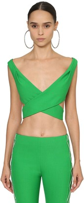Area Wrapped Wool Blend Crop Top